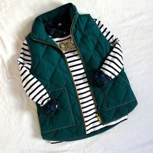 EUC • J Crew • Forrest Green Quilted Vest • XS